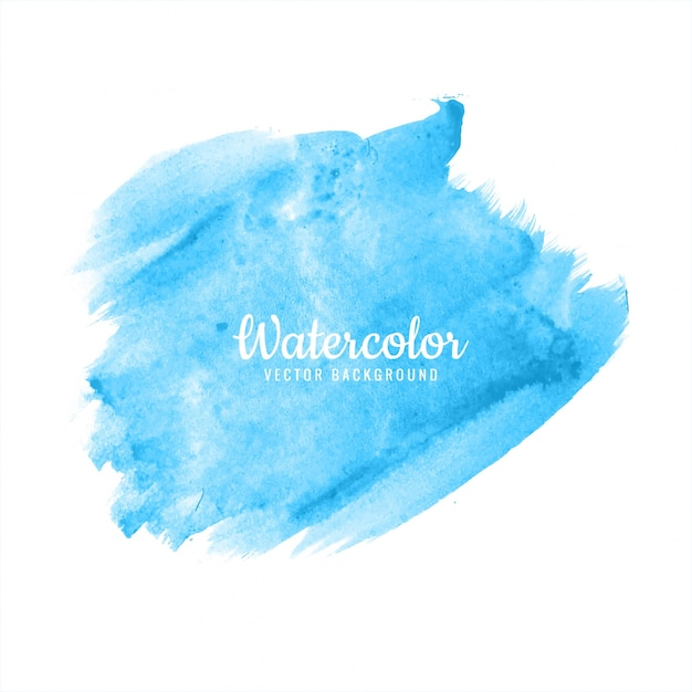 Abstract bright blue watercolor brush stroke design Free Vector