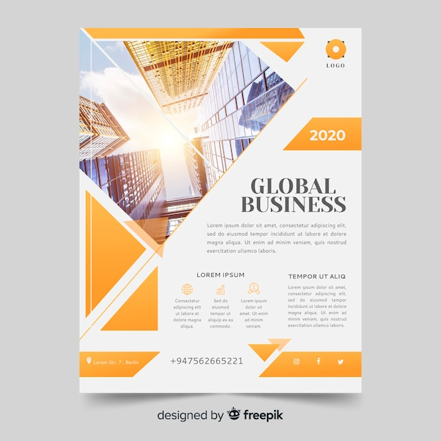 Abstract bright business flyer with photo template Free Vector