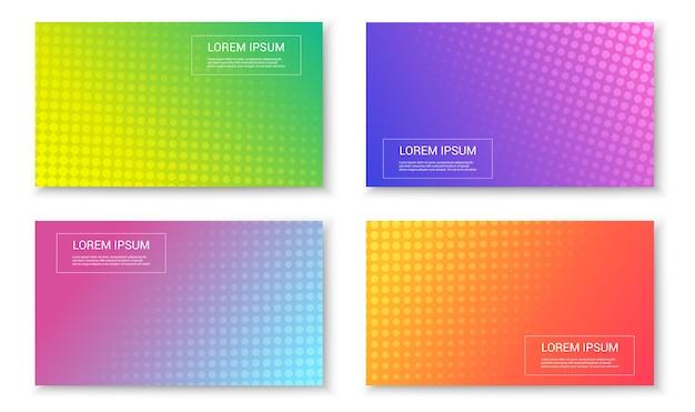 Набор абстрактных ярких красочных модных баннеров Premium векторы