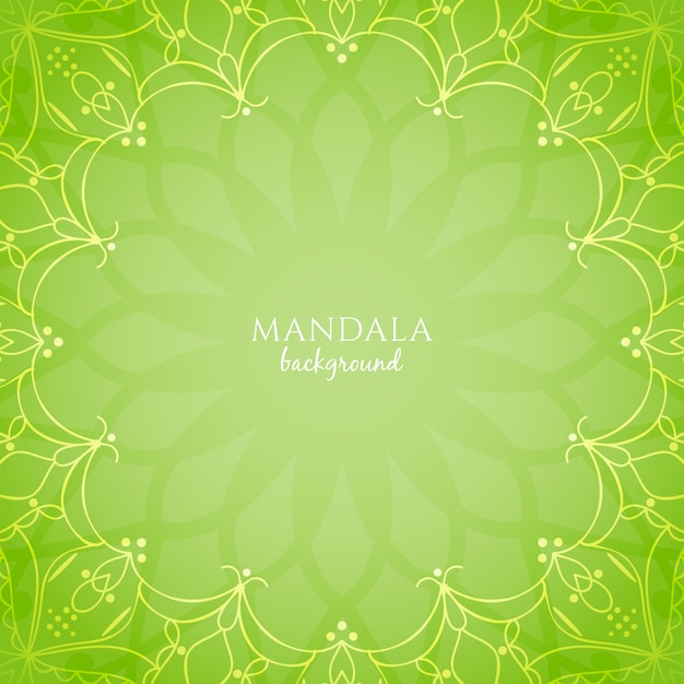 Abstract bright green color mandala background Free Vector
