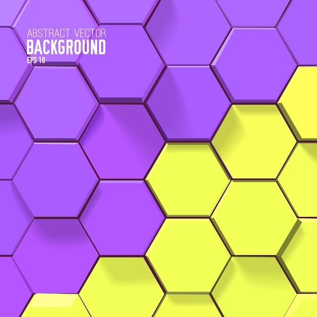 Абстрактный яркий сотовый фон с желтыми и фиолетовыми шестиугольниками Бесплатные векторы