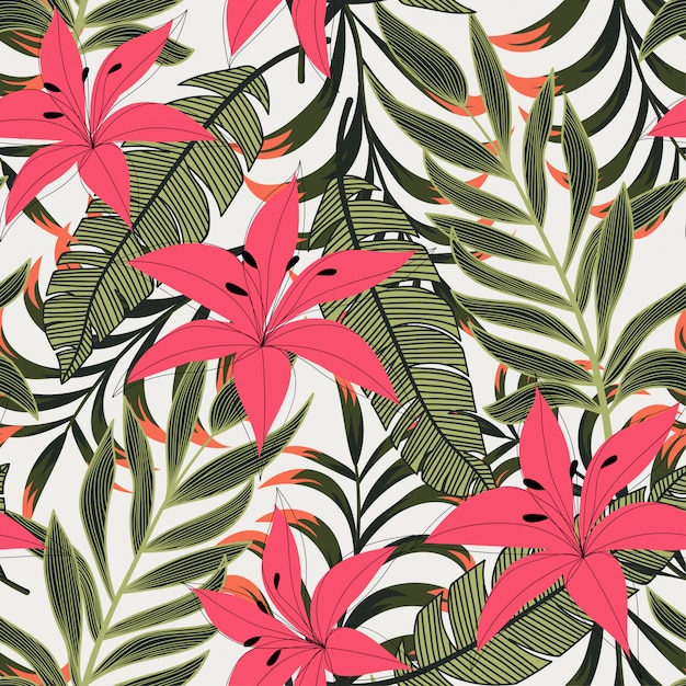 Abstract bright seamless pattern with colorful tropical leaves and flowers on light Premium Vector