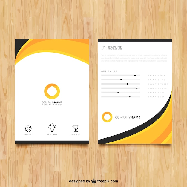 Abstract brochure template vector free download for Company brochure template free