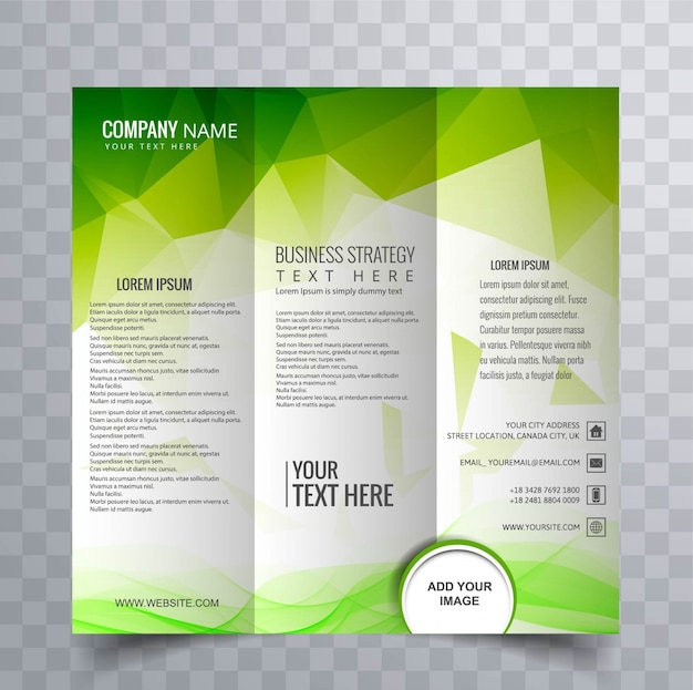 Abstract brochure with green polygonal design Free Vector