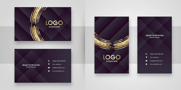 Abstract browns luxury business card template Premium Vector