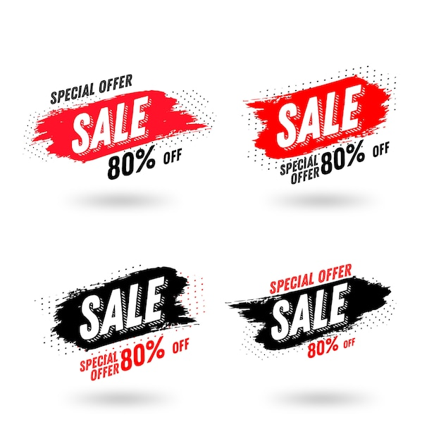 Abstract brush sales banner template Premium Vector