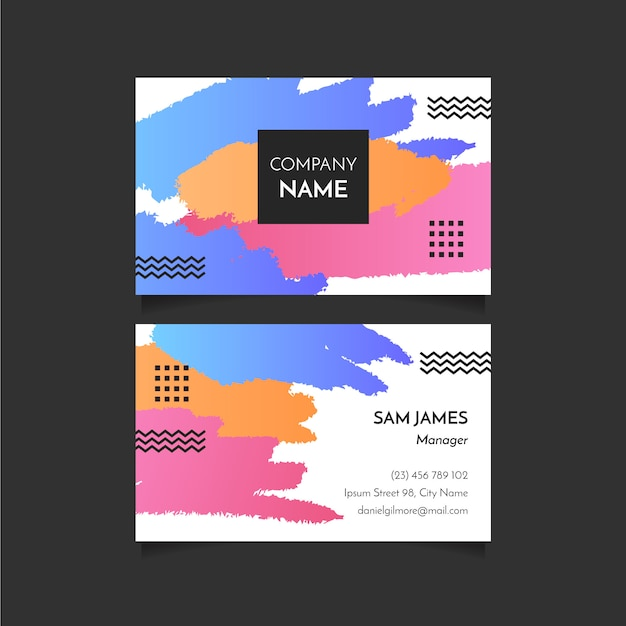 Abstract brush strokes business card Free Vector