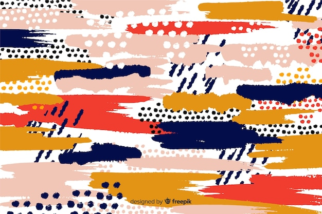Abstract brush strokes design background Free Vector