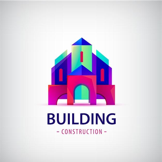 灰色で隔離の抽象的な建物のカラフルなロゴ Premiumベクター