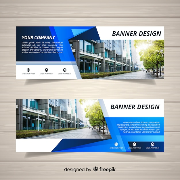 Abstract business banner template with image Free Vector