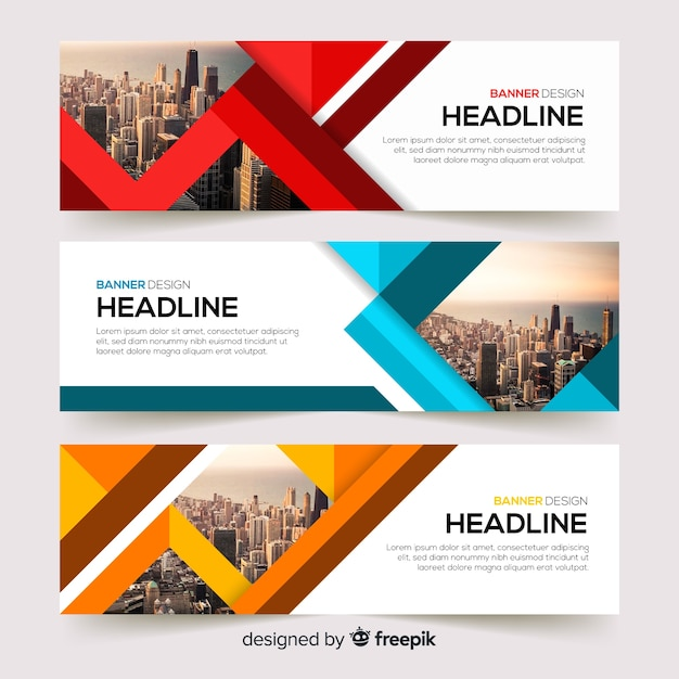 Abstract business banner template with photo Free Vector