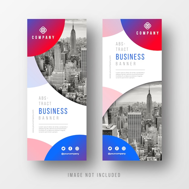 Abstract business banner templates with circles Free Vector