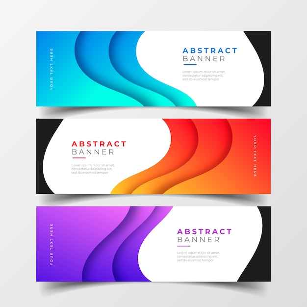 Abstract business banners collection with gradient waves Free Vector