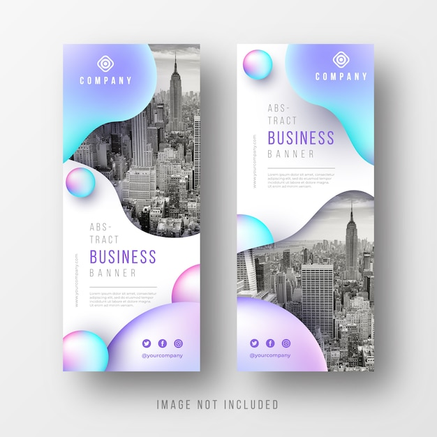 Abstract business banners collection with liquid shapes Free Vector