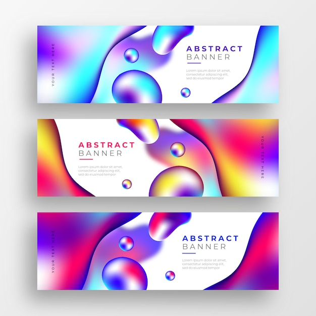 Abstract business banners with liquid colorful shapes Free Vector