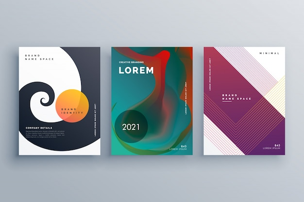 abstract business brochure design set in creative style Free Vector