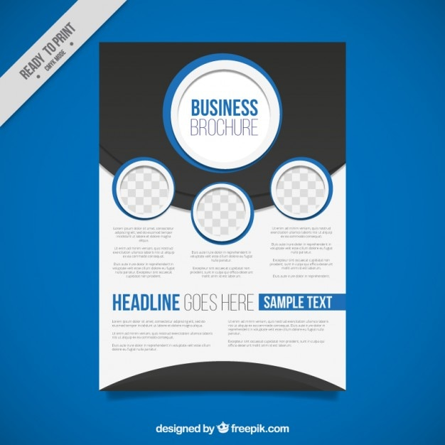 Blue Flyer Template Abstract Business Brochure With Blue Circles