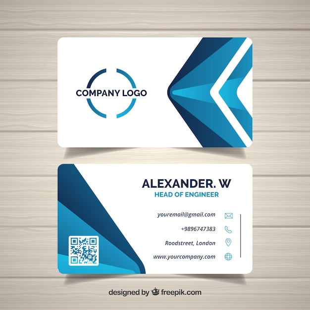 Abstract business card in blue Free Vector