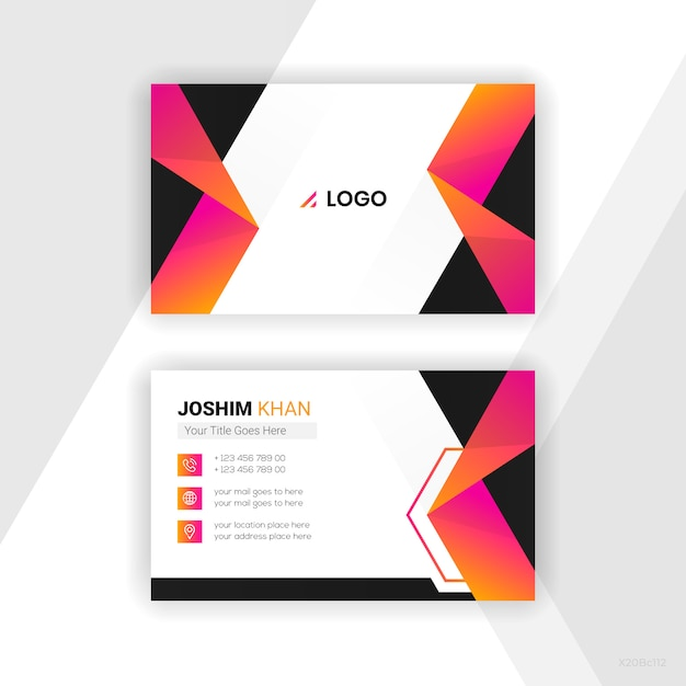 Abstract business card colourful design Free Vector