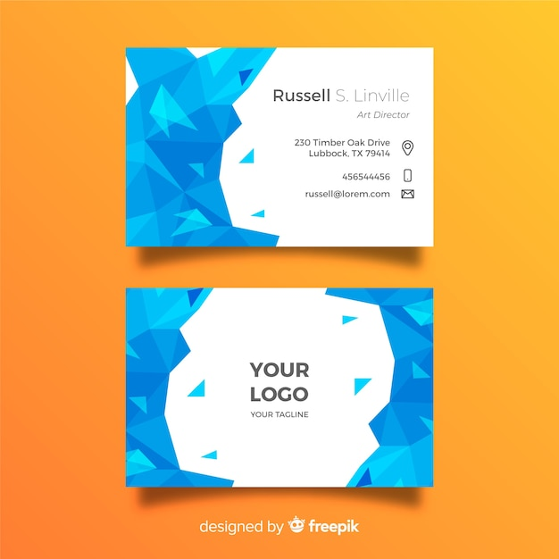 Abstract business card emplate with low poly around Free Vector