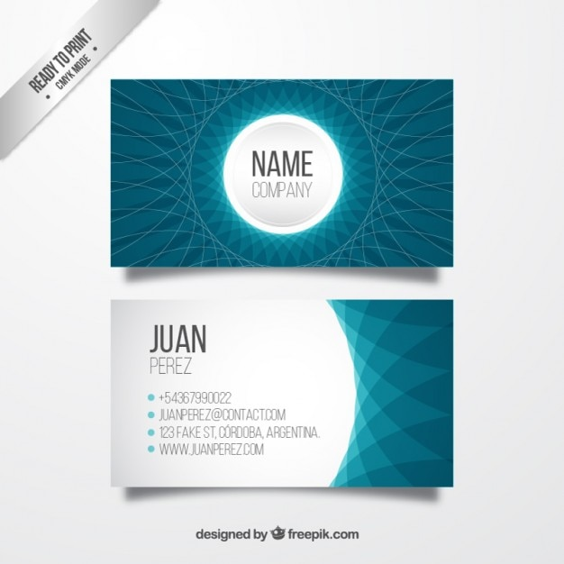 Abstract business card in blue colors vector premium for Business card colors
