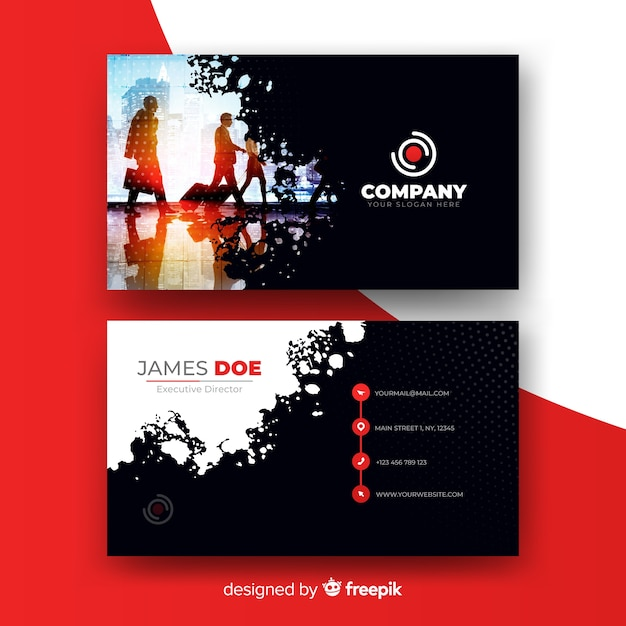Abstract business card presentation Free Vector