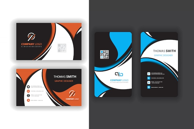 Abstract business card set Free Vector