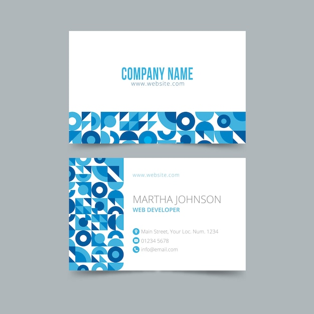 Abstract business card template in blue Free Vector