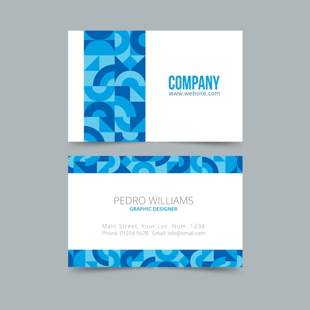 Abstract business card template in classic blue Free Vector