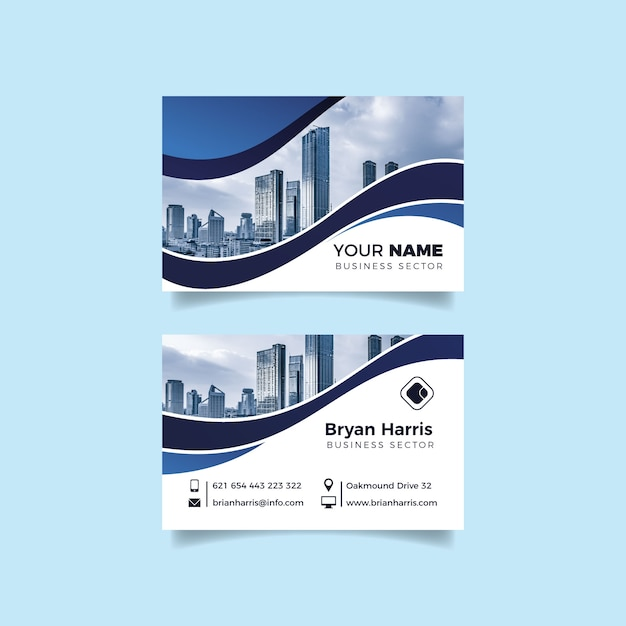 Abstract business card template pack with photo Free Vector