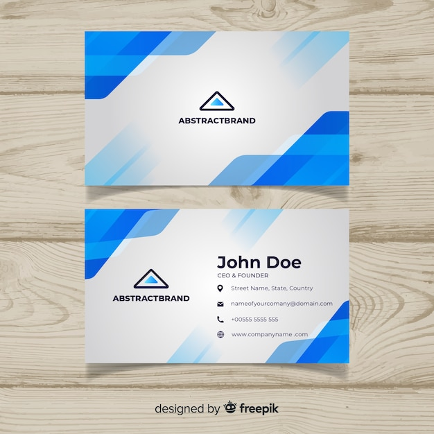 Abstract business card template with blue colors Free Vector