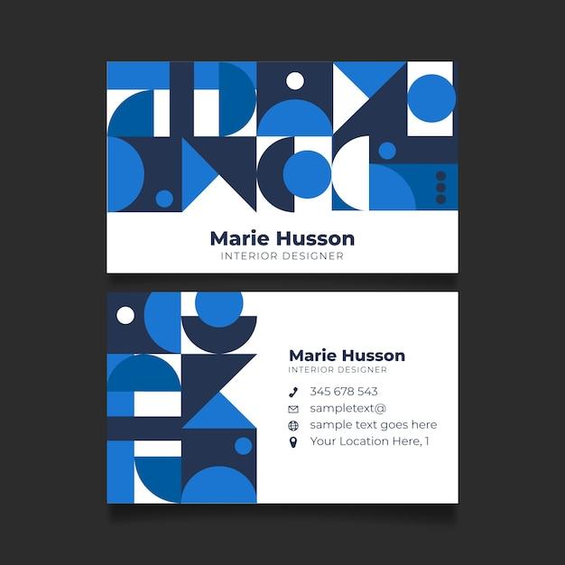 青い幾何学的形状を持つ抽象的な名刺テンプレート 無料ベクター
