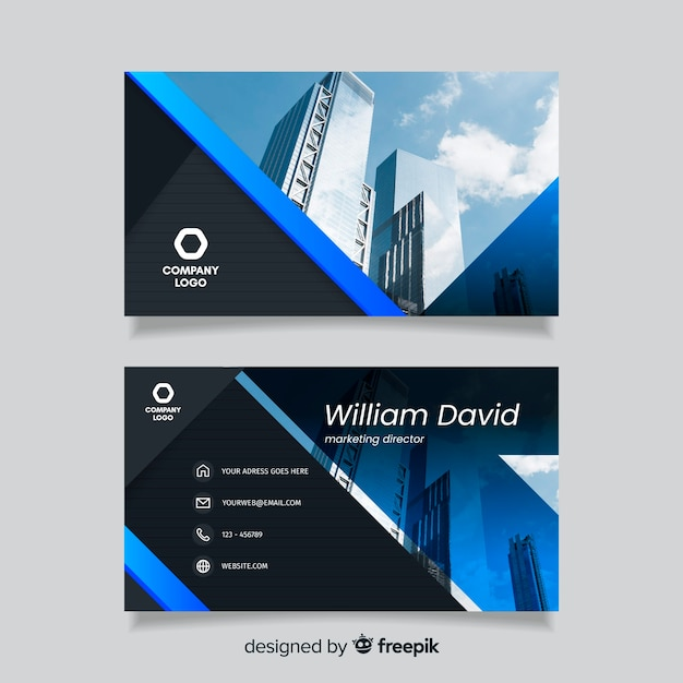 Abstract business card template with buildings Free Vector