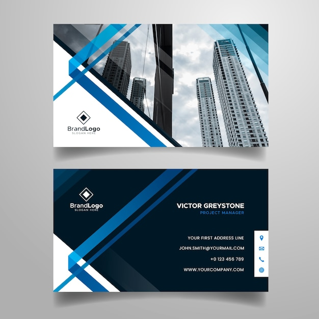 Abstract business card template with city photo Free Vector