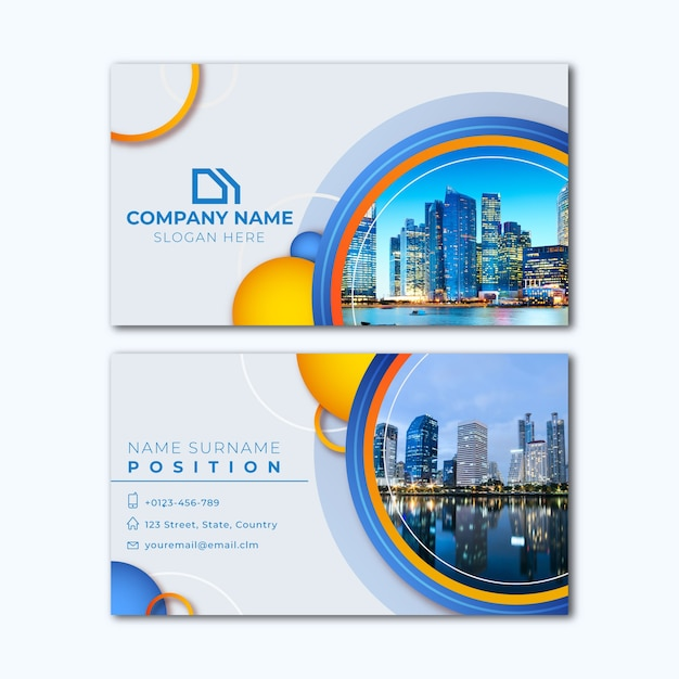 Abstract business card template with city picture Free Vector
