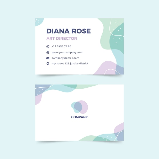 Abstract business card template with colorful stains Free Vector
