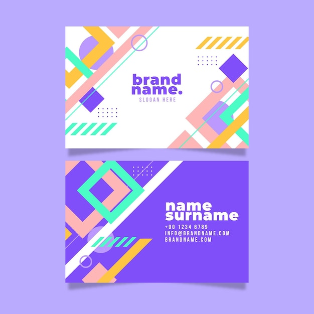 Abstract business card template with geometrical shapes Free Vector