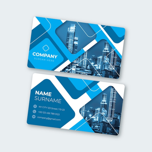 Abstract business card template with image set Free Vector