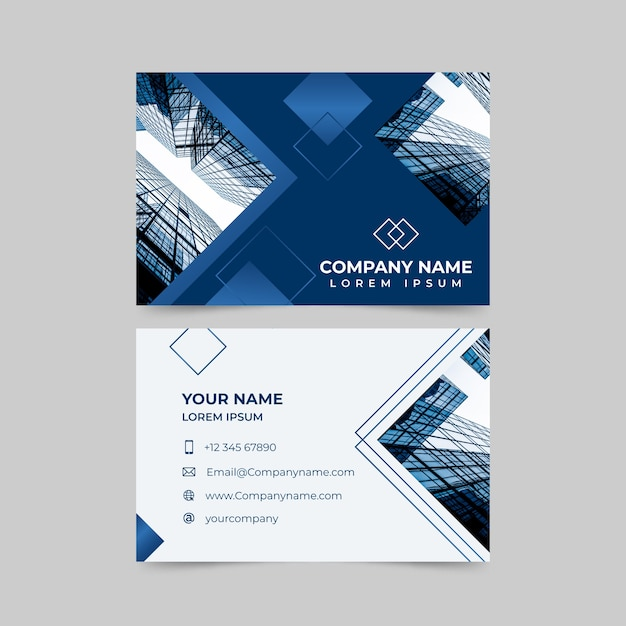 Abstract business card template with image Free Vector