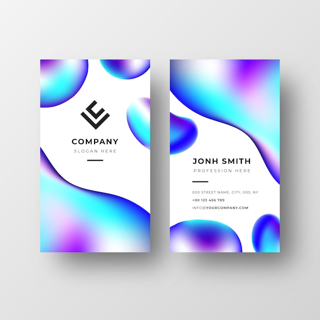 Abstract business card template with liquid shapes Free Vector