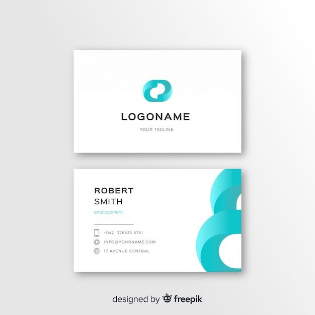Abstract business card template with logo Free Vector