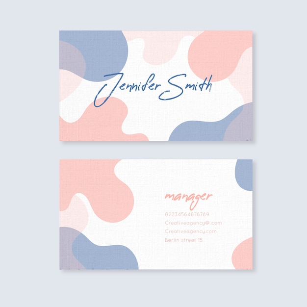 Abstract business card template with pastel colored stains Free Vector
