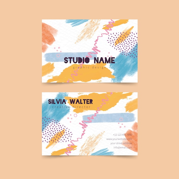 Abstract business card template with pastel colors Free Vector
