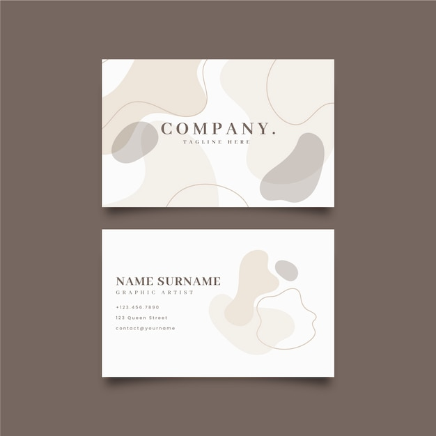 Abstract business card template with pastel stains Free Vector