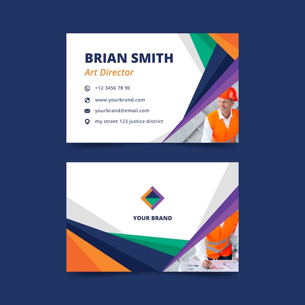 Abstract business card template with photo design Free Vector
