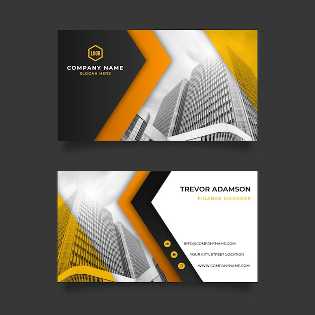 Abstract business card template with photo image Free Vector