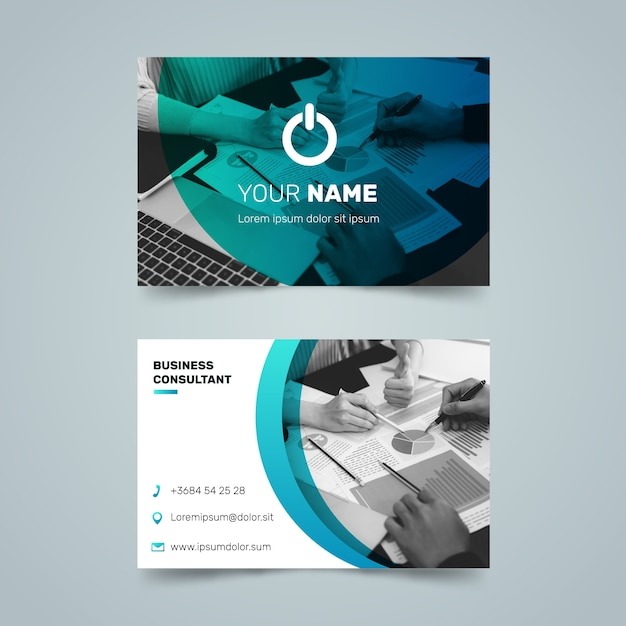 Abstract business card template with photo set Free Vector