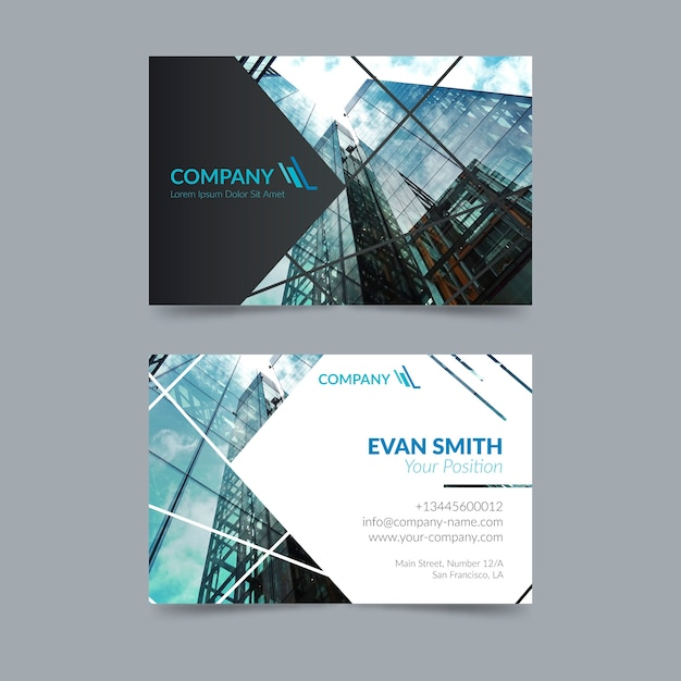Abstract business card template with photo theme Free Vector