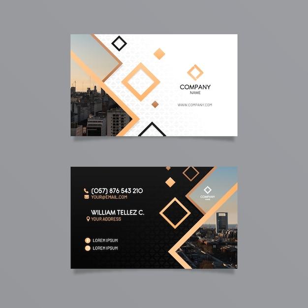 Абстрактный шаблон визитной карточки с фото Premium векторы