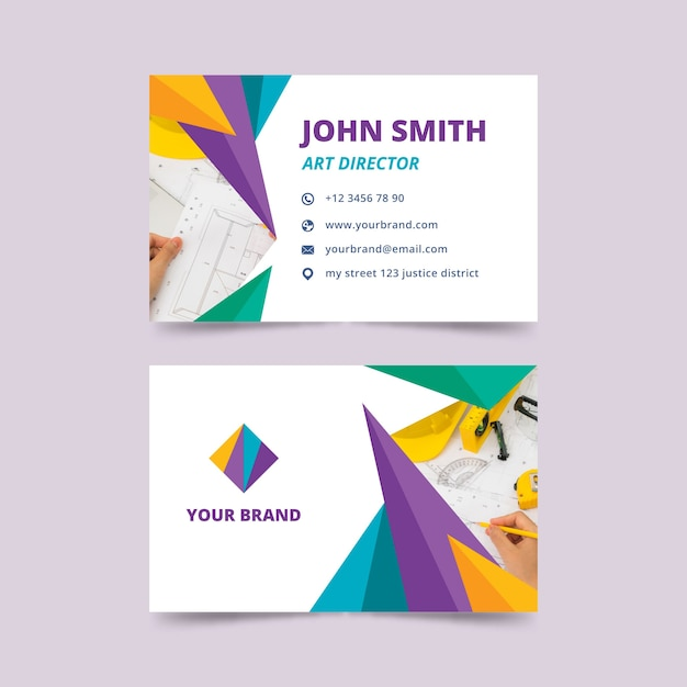 Abstract business card template with photo Free Vector